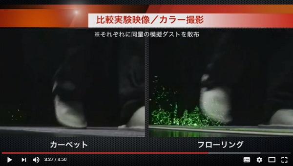 ほこりの舞い上がり実験動画