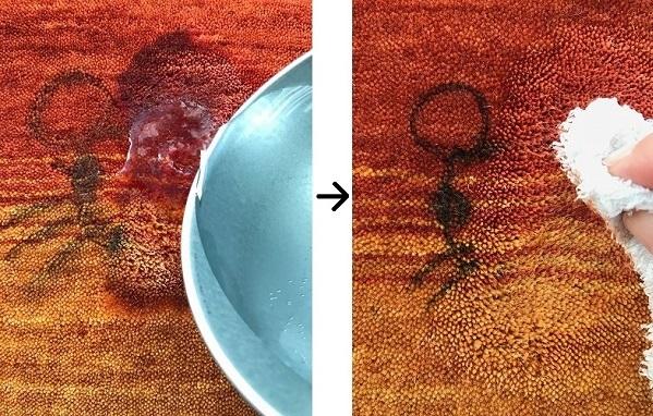 水またはぬるま湯をかけては吸い取る