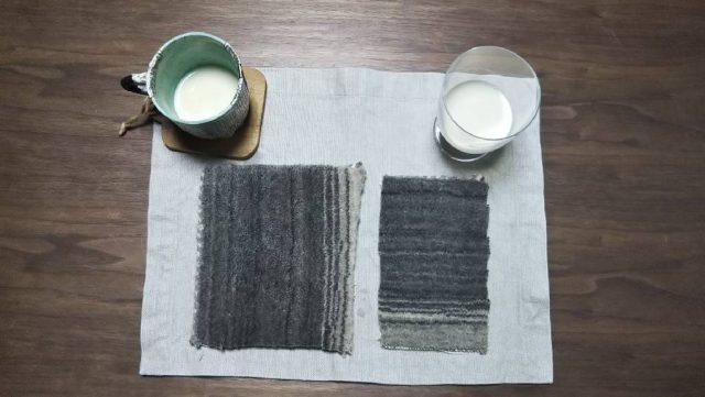ハグみじゅうたん豆乳で染み込み実験