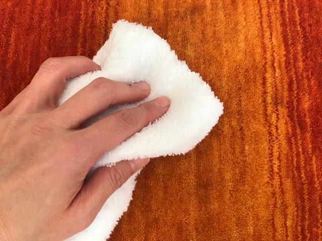 水で固く絞ったタオルで拭く様子