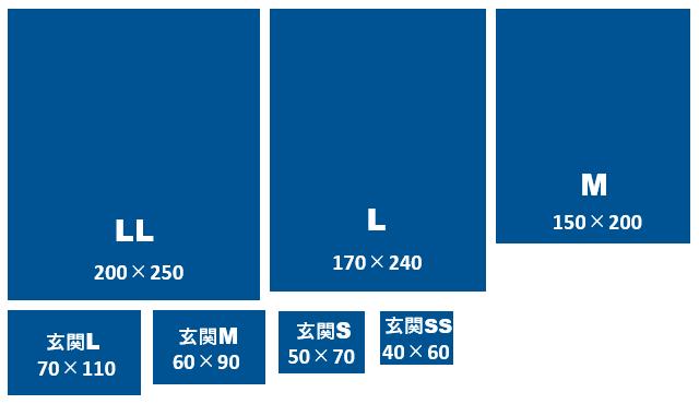 ハグみじゅうたん ておりシリーズサイズ一覧