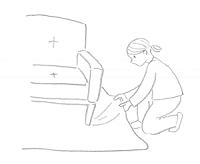 イラスト 絨毯を横から引っ張る