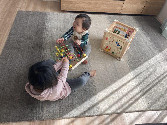 子どもがハグみじゅうたんの上で遊んでいる